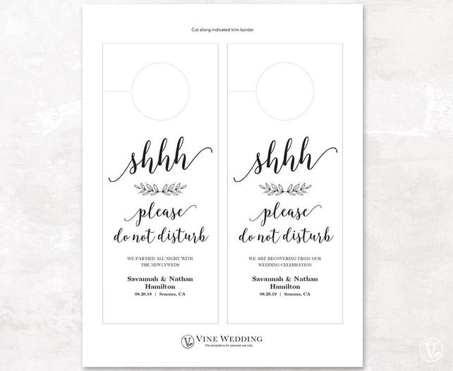 photo relating to Printable Do Not Disturb Signs referred to as Wedding day Doorway Hanger, Printable Doorway Hanger Template, Make sure you