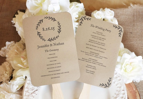 printable wedding fan program diy wedding programs kraft etsy