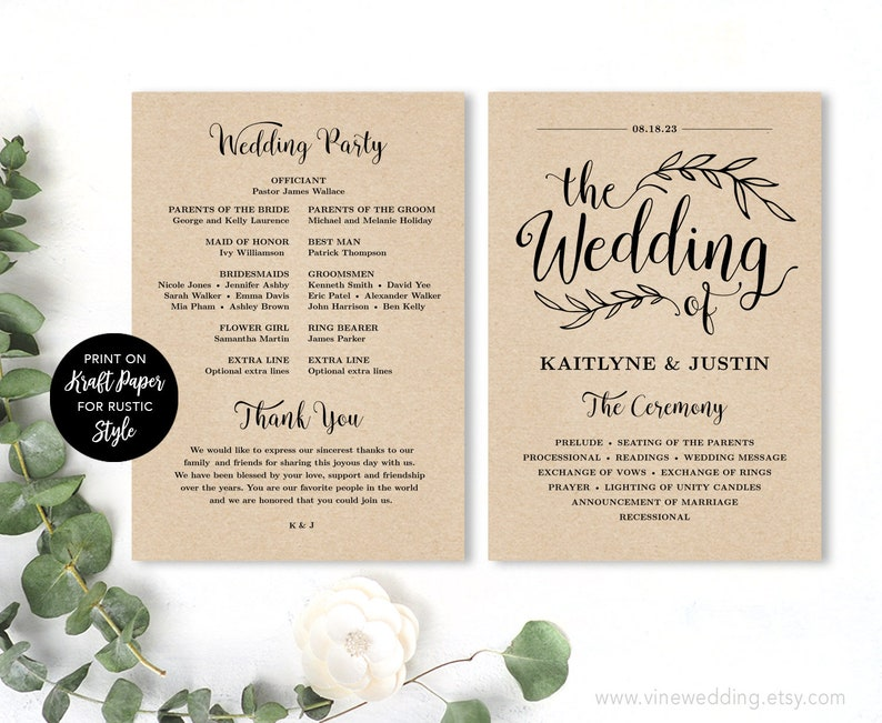 Printable Wedding Program Wedding Program Template Kraft image 0