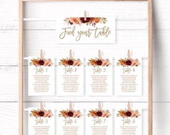Fall Seating Chart Cards, Printable Wedding Seating Chart Template, Editable, 4x6, 5x7, Autumn, Burgundy, Burnt Orange, Sienna, VWC74