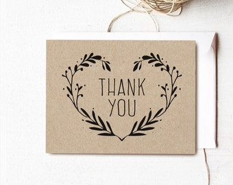 Printable Thank You Cards, Rustic Wedding Thank You Card Template, Thank You Card - Instant DOWNLOAD - 4.25 x 5.5 inches folded, TY04, VW08