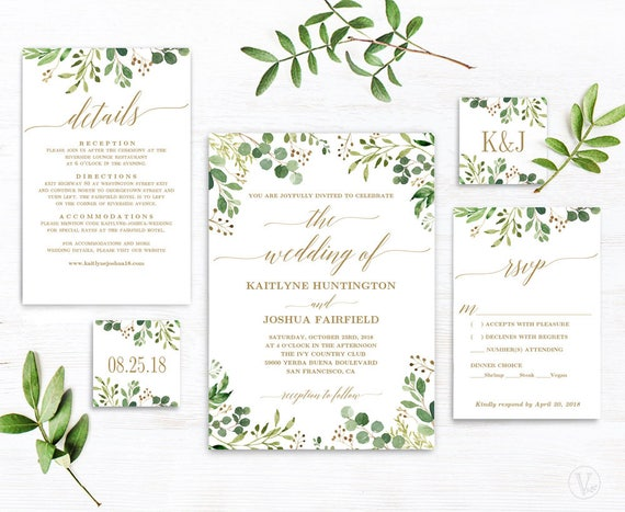 greenery wedding invitation template green and gold etsy