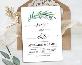 Greenery Save the Date Template, Printable Save the Date Card, Wedding Save the Date, Editable Text, 5x7, Eucalyptus, VW34