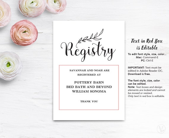 Gift Registery Card Template Printable Wedding Registry Card Editable Text Vintage Wedding Vw01