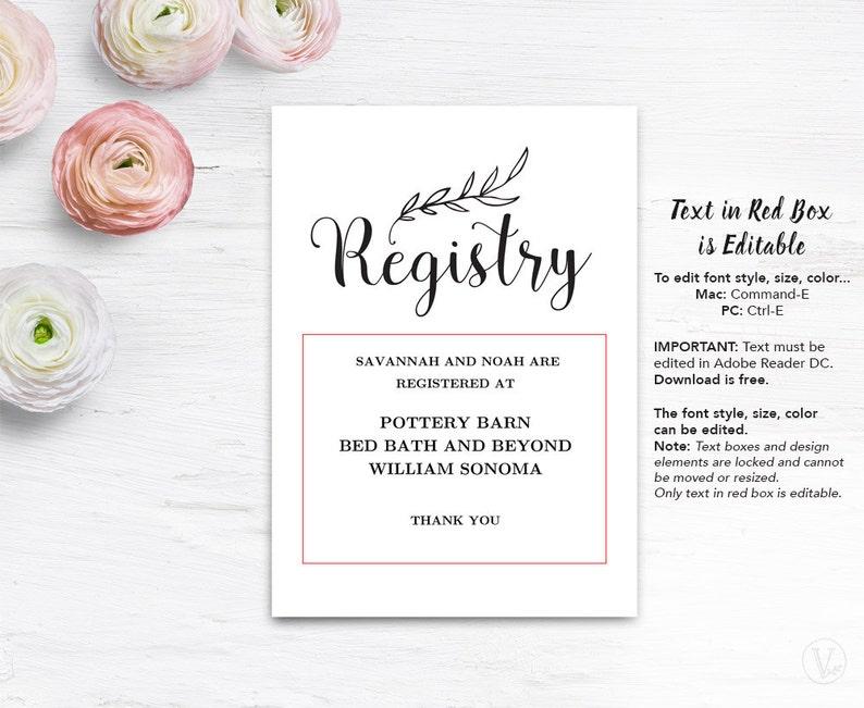 photograph regarding Free Printable Registry Cards identify Reward Registery Card Template, Printable Wedding day Registry Card, Editable Terms, Traditional Marriage, VW01