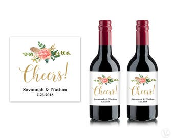 Bridal Shower Mini Wine Labels, Printable Wine Bottle Label Template, Personalized and Editable, 3x2.75 inches, Cheers, VW12