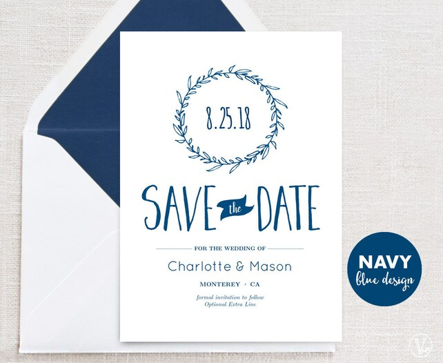 Navy Blue Save The Date Template Printable Save The Date Cards