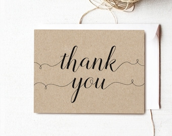 Printable Thank You Cards, Rustic Wedding Thank You Card Template, Thank You Card - Instant DOWNLOAD - 4.25 x 5.5 inches folded, TY03, VW02