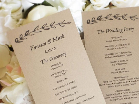 Printable Wedding Program Template Kraft Paper
