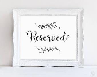 Printable Reserved Sign, Wedding Reserved Sign, Rustic Wedding Sign, Wedding Reception Signs, VW01