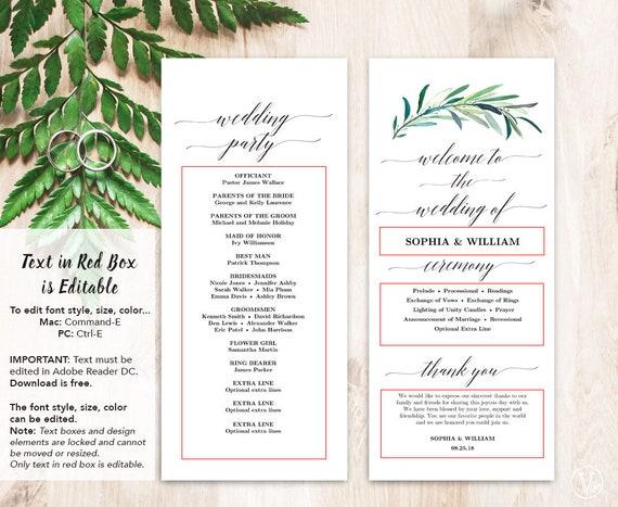 printable wedding program template greenery wedding programs etsy