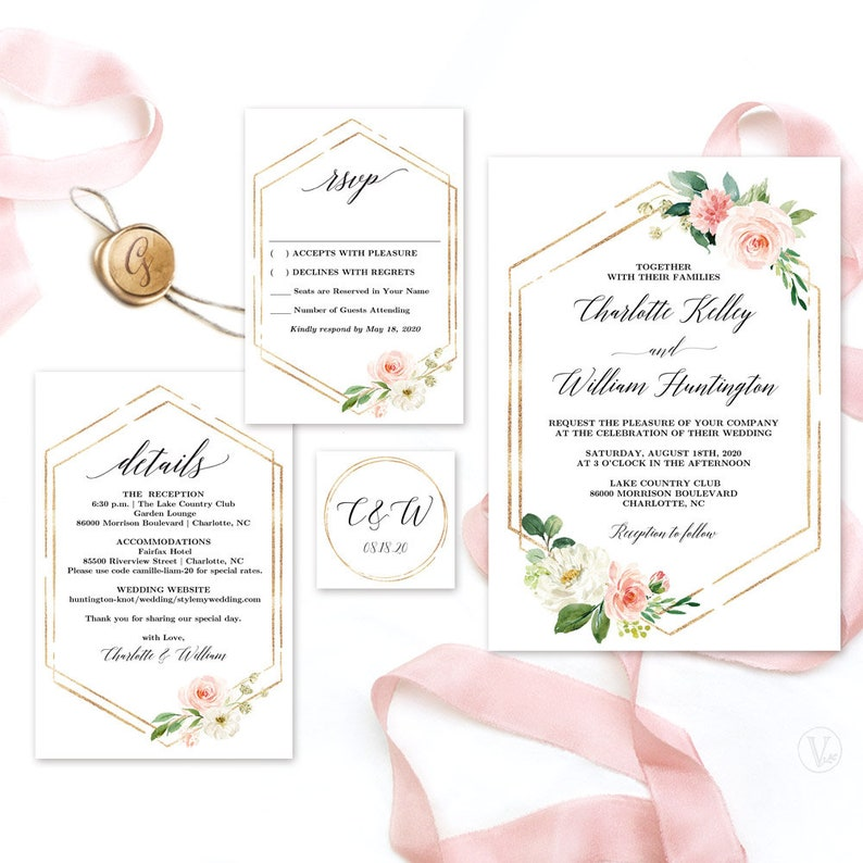 graphic relating to Etsy Wedding Invitations Printable titled Impressive Backyard Floral Marriage ceremony Invitation, Printable Wedding day Invitation Template, Calligraphy Marriage Invitation Fastened, Blush Red, Gold, VW25