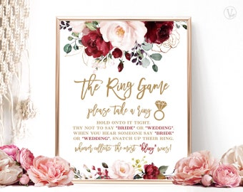 Bridal Shower Game, The Ring Game, Please Take a Ring Sign, Printable Game Sign, Floral, Burgundy, Pink, Gold, VWC83