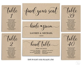Rustic Wedding Seating Chart Template, Header Signs and Table Signs 1-40, Printable Wedding Table Seating Chart, SC008