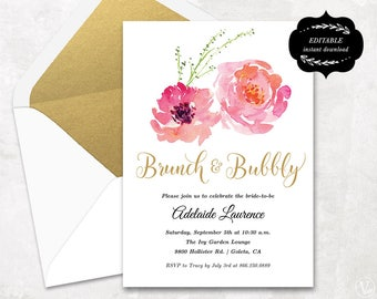 Bridal Shower Template, Printable Bridal shower Invitation, Cheap DIY template, Instant DOWNLOAD, EDITABLE Text, 5x7, BS003, VW13
