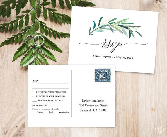 Greenery Rsvp Postcard Template Printable Wedding Rsvp Card