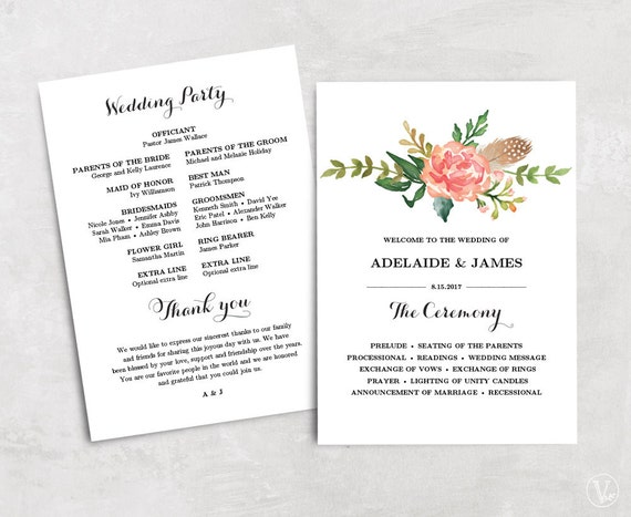 Floral Wedding Program Template Printable Wedding Programs - Floral wedding program templates