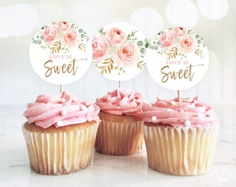 Love is Sweet Cupcake Toppers, Printable Bridal Shower Cupcake Toppers, 2-inch, Blush Pink Floral, VWC95