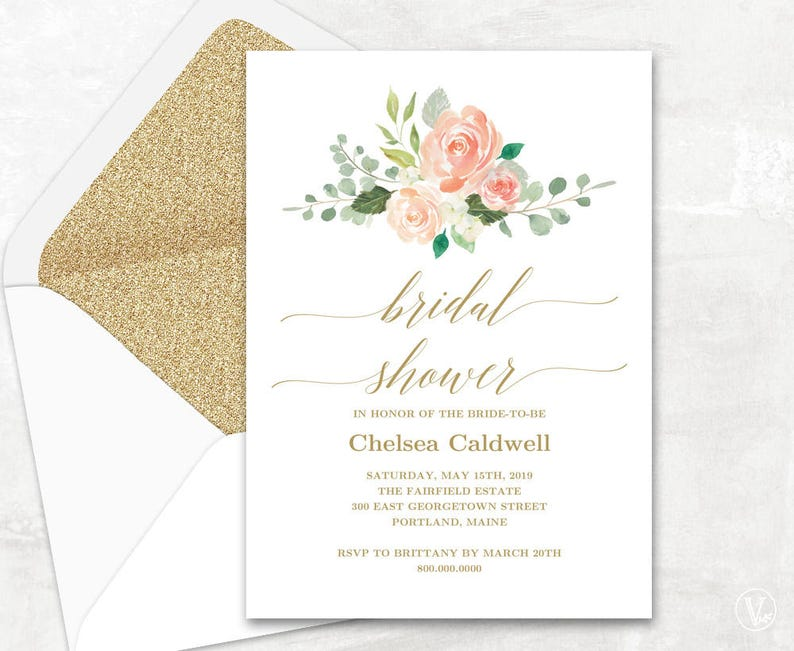 a339b9997be3 Peach Blush Bridal Shower Invitation Template Printable