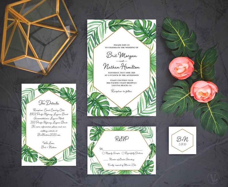 graphic relating to Etsy Wedding Invitations Printable titled Impressive Tropical Marriage ceremony Invitation, Printable Wedding day Invitation Template Mounted, Tropical Wedding ceremony, Beach front Wedding day, TROPICAL LUXE