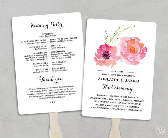 Printable Wedding Program Fan Template Wedding Fans Diy Etsy