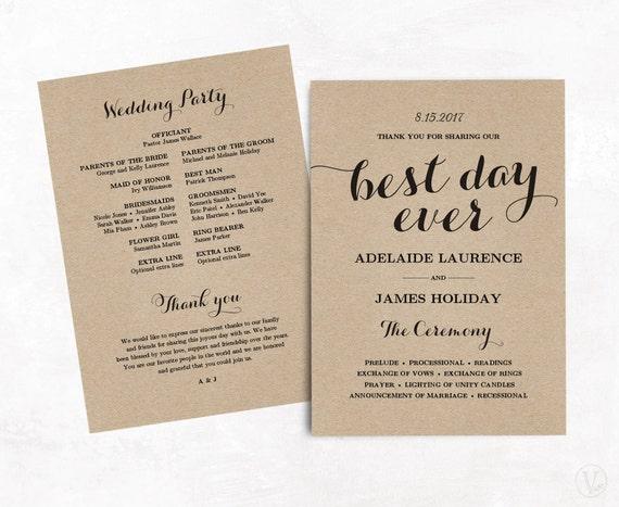 Wedding Program Template Kraft Paper DIY