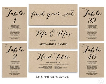 Wedding Seating Chart template, Header Signs and Table Signs 1-40, Printable Wedding Table chart, INSTANT DOWNLOAD, SC009