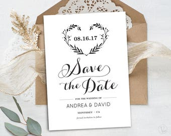 Printable Save the Date Card Template, Kraft Paper Save the Date Card, INSTANT DOWNLOAD, EDITABLE Text, Heart Wreath STD026, VW08