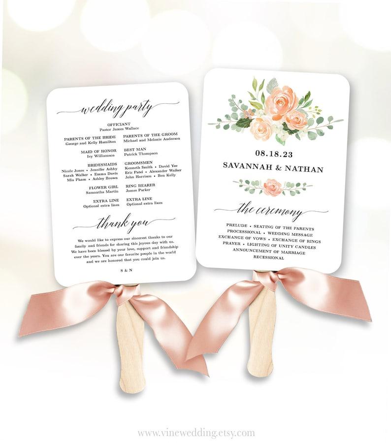 Peach Floral Wedding Program Fan Template Printable Fan image 0