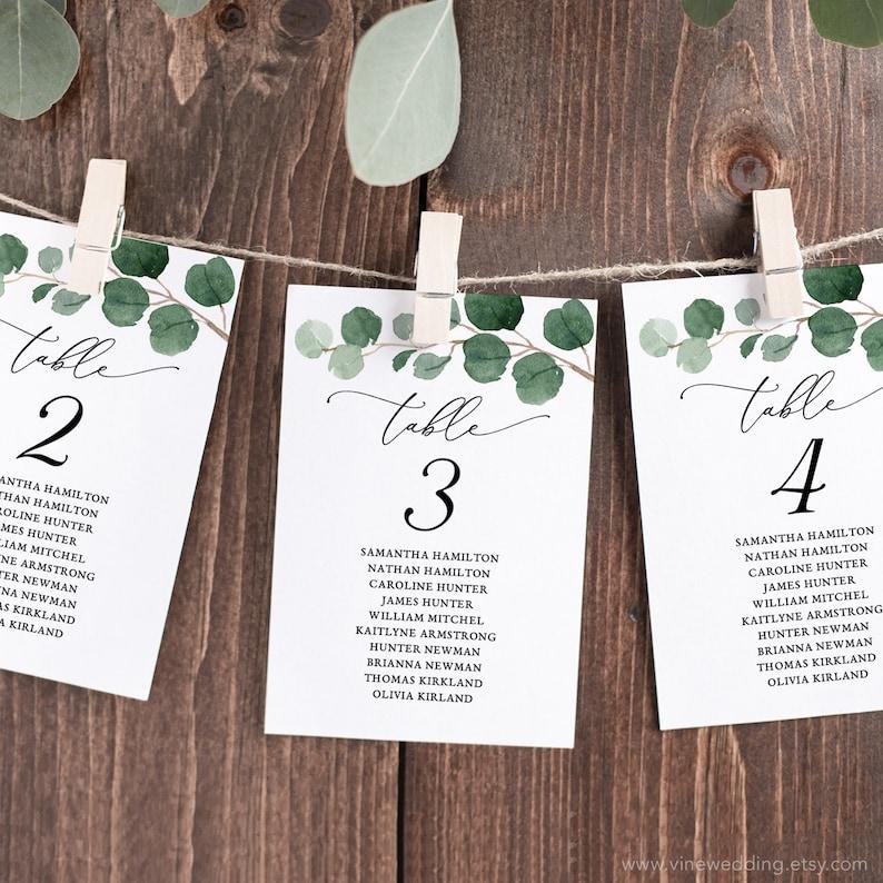 Printable Wedding Seating Chart Template Editable Modern Greenery 4x6 and 5x7 VWT10 Elegant Greenery Seating Chart Cards