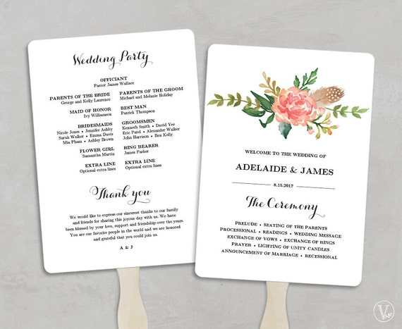 printable wedding program template fan wedding programs diy etsy