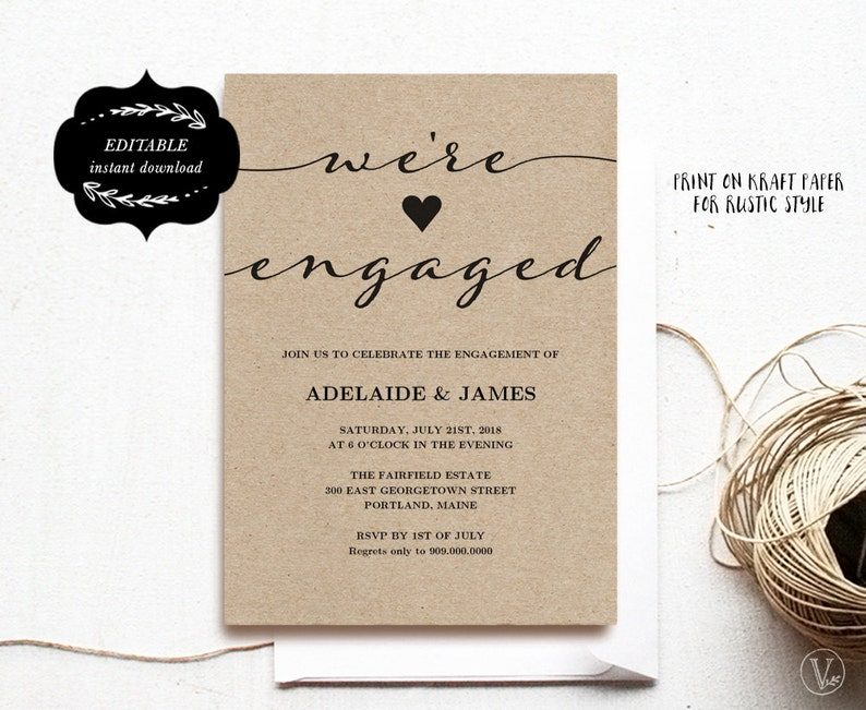 Engagement Invitation Template Printable Engagement Party Etsy