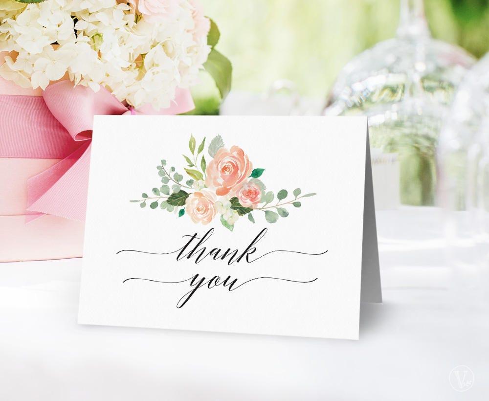 Wedding Gift Thank You Card Template: Peach Blush Floral Wedding Thank You Card Template