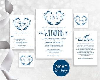 Navy Blue Wedding Invitation, Printable Wedding Invitation Template, Kraft Wedding Invitations, Editable Text, Heart Wreath VW09