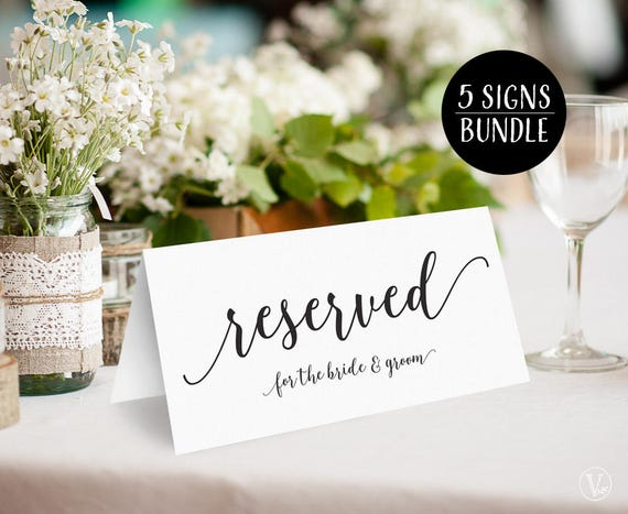 bundle reserved signs printable wedding reserved signs for etsy