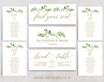 Greenery Wedding Seating Chart Template, Header Signs and Table Signs 1-40, Printable Wedding Table Chart, Gold Garden, VW31