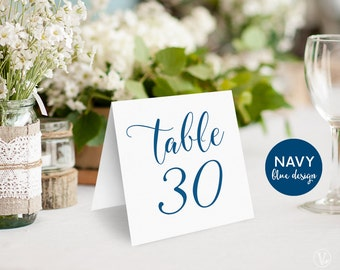Navy Blue Wedding Table Numbers 1–40, Tented Table Numbers, Printable Wedding Table Numbers, INSTANT DOWNLOAD, 5x5 Folded, TN04