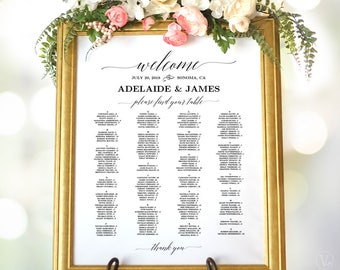 Wedding Seating Chart Poster, Printable Wedding Seating Chart Sign Template, Alphabetical, VW25, VW26, VW28, VW30, VW34, VW37, VW49, VW50
