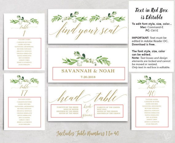 greenery wedding seating chart template header signs and etsy