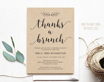 Printable Wedding Brunch Invitation Card Template, Thanks a Brunch, Rustic, Editable Text, Modern Calligraphy, VWC88