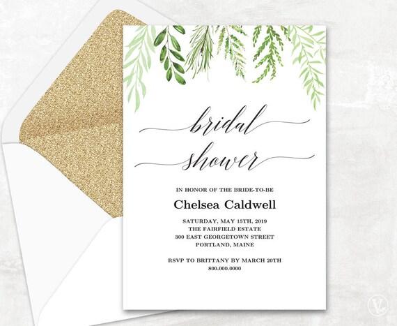 Botanical Greenery Bridal Shower Invitation Template Etsy
