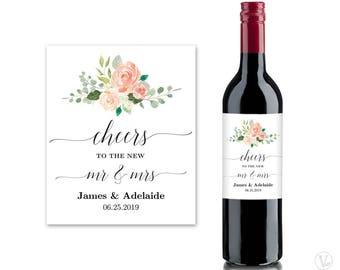 Wedding Wine Bottle Labels, Printable Wine Bottle Label Template, Personalized Wine Label, Peach Blush, VA26