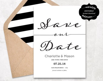 Modern Calligraphy Save the Date Template, Printable Save Our Date Card, Kraft Paper, Instant DOWNLOAD - EDITABLE Text - 5x7, STD002