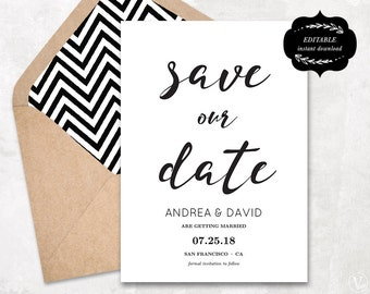 Modern Save the Date card, Printable Save Our Date Template, Kraft Paper Save the Date Card, Instant DOWNLOAD - EDITABLE Text - 5x7, STD001
