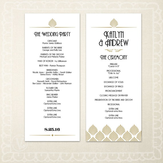 printable art deco wedding program template diy wedding etsy