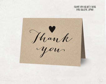 Printable Thank You Card, Rustic Wedding Thank You Card Template, Kraft Thank You Card - Instant DOWNLOAD - 4.25 x 5.5 inches folded, TY02