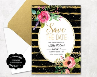 Save the Date Template, Floral Save the Date Card, Cheap Save the Date Printable Card, Instant Download - EDITABLE Text - 5x7, STD0020
