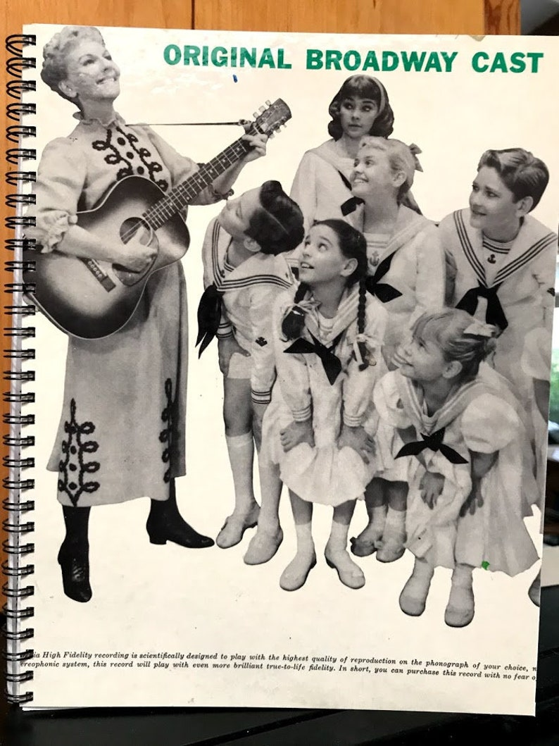 for the Mary Martin In The Sound Of Music Broadway Cast / Vintage Album  Cover Notebook /rare LP vinyl artwork