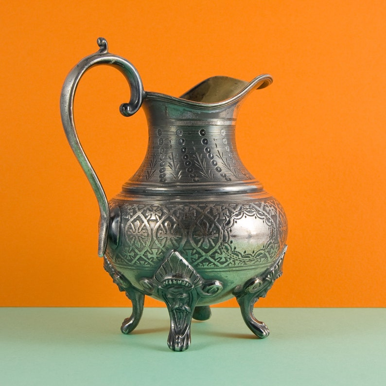 Fully marked Silver Plated Pewter Jug M\u00e9tal Anglais Britannia Metal French Vintage