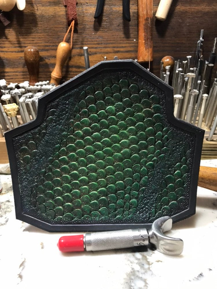 Dragon Scale Custom Leather holster Hand tooled leather